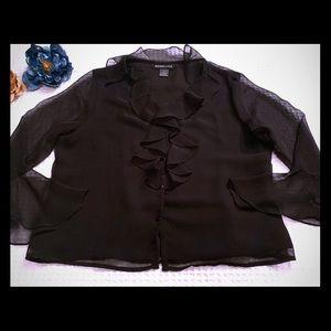 Jennifer Lloyd Ruffle-Front Black Blouse. Size LG